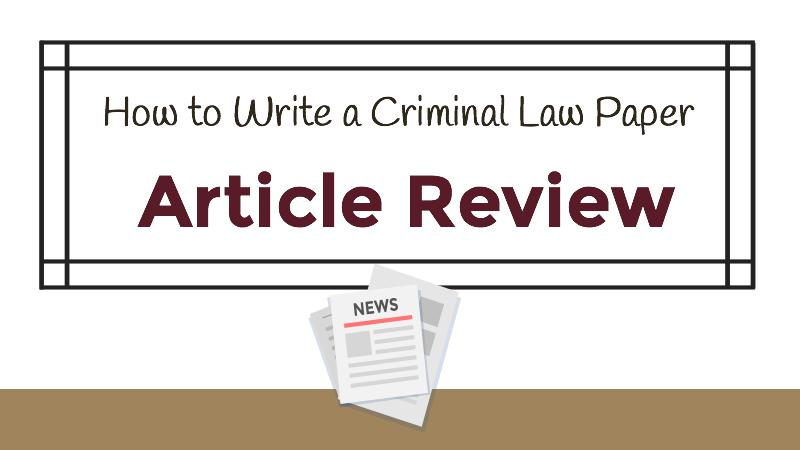 Criminal Law Article Review